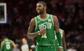 Kyrie Irving in the closing minutes of the Celtics/76ers game.