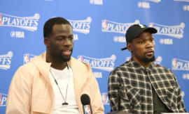 Draymond Green and Kevin Durant attend a press conference during the 2017 NBA Playoffs.