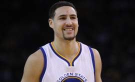 Klay Thompson during a game against the Celtics.