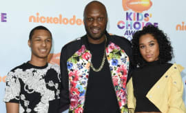 Lamar Odom with his son and daughter.