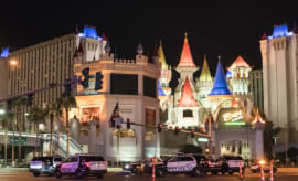 The scene of the mass shooting in Las Vegas.