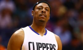 Paul Pierce reacts to a call during a playoff game.