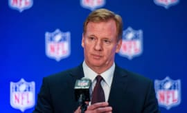 Roger Goodell speaks to the media after the NFL Owners meetings.