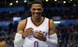 Russell Westbrook laughs during a game.