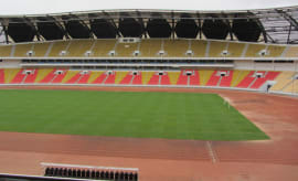 An empty soccer stadium in Angola.