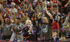 Tom Brady Vince Lombardi Trophy Super Bowl LI Podium