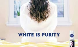 "Poster from Nivea's short-lived ""White Is Purity"" campaign."