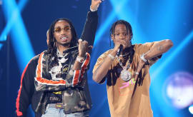 Quavo and Travis Scott performing at the iHeart Radio Music Festival in 2017