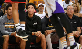 lonzo ball on the bench at summer league