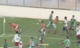The aftermath of a melee that took place at a Brazilian soccer game.
