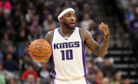 Ty Lawson motions for play on court.