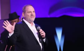 Harvey Weinstein speaks onstage at The Weinstein Company's Pre-Oscar Dinner
