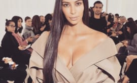 This is Kim Kardashian at Paris Fashion Week 2016.