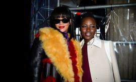 Rihanna and Lupita Nyong'o pose for photo together.