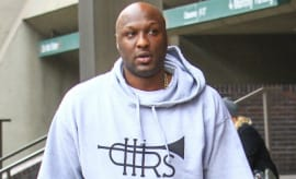 Lamar Odom walks down the street in Los Angeles.