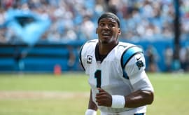 Cam Newton jogs off the field during the Panthers' Week 2 game against the 49ers.