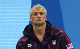 Ryan Lochte waits his turn during a relay at the 2016 Olympics.