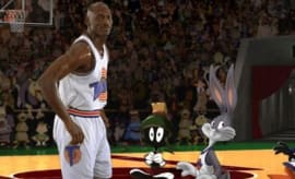 Michael Jordan on the floor in 'Space Jam'.