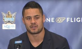 Hayne at the Titans press conference.