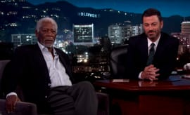 Morgan Freeman proves his narration power on 'Jimmy Kimmel Live.'