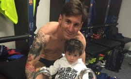 Lionel and Thiago Messi