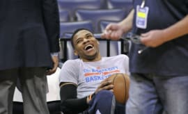 Russell Westbrook laughs before a game against the Grizzlies.