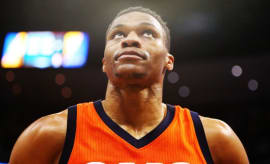 Russell Westbrook reacts to breaking the NBA's triple-double record.