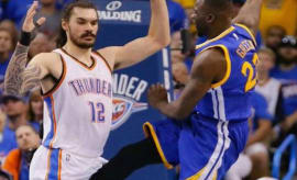 Draymond Green boots Steven Adams in the balls during the 2016 NBA Playoffs.