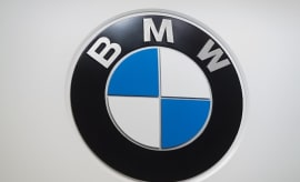 The BMW logo is seen during the 2017 North American International Auto Show