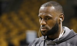 LeBron James warms up for Game 1 of the Eastern Conference Finals against the Celtics.