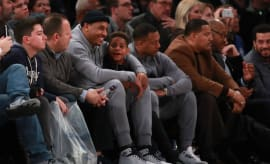 Carmelo Anthony and his son Kiyan.