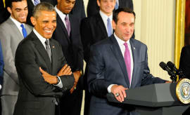Former president Obama and Coach K at the White House.