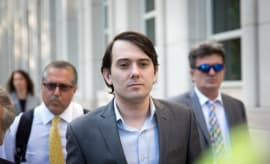 Martin Shkreli walks out of court.