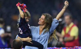 Gisele Bundchen celebrates the Patriots win in Super Bowl LI.