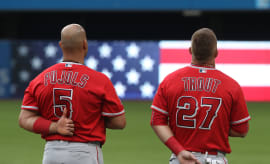 Pujols Trout National Anthem Toronto 2016