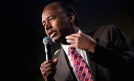Ben Carson speaks to employees on his first day at HUD