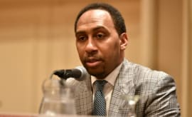 Stephen A. Smith speaks on a panel.