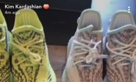 North & Saint West Adidas Yeezy Boost 350 V2 Semi Frozen Yellow & Blue Tint