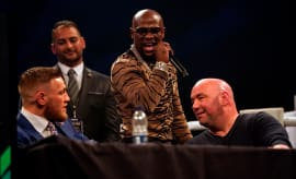 Floyd Mayweather Jr. speaks to Conor McGregor
