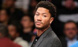 Derrick Rose looks on during a recent Knicks game.