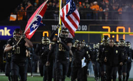 Vanderbilt players take the field prior to the game against Tennessee.