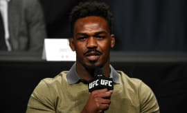Jon Jones appears at a UFC press conference.