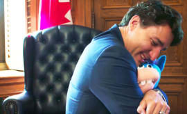justin trudeau hugs gary the unicorn