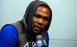 Kevin Durant speaks about his knee injury.