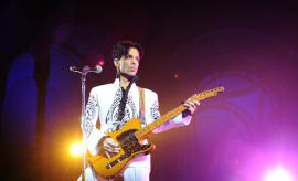 Prince performs at concert.