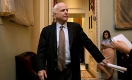Sen. John McCain (R-AZ) leaves a meeting of GOP senators