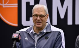 Phil Jackson speaks at a press conference.