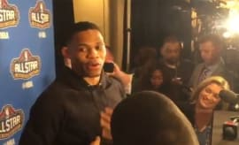 Russell Westbrook dodges a question about Kevin Durant.