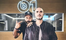 Ebro Darden and Zane Lowe in front of Apple Music's Beats 1 Booth at ComplexCon.