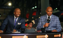Charles Barkley and Kenny Smith during 'Inside the NBA' taping.